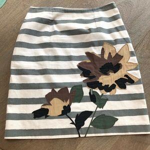 BODEN Striped Floral Cotton Skirt   8